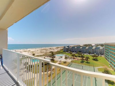 Photo for NEW LISTING! Comfortable, Gulf-view condo w/shared pools, hot tubs, tennis court