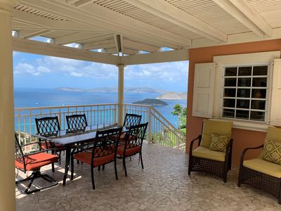 Covered dining with a gorgeous Caribbean Sea view