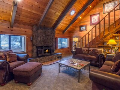 Photo for Cabin with 6 twins built in the loft, wood fireplace and hot tub - INDI17