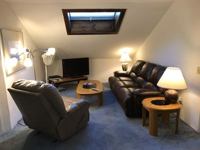 Carriage House Living Room with skylight.