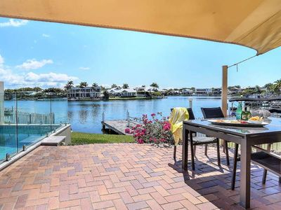 Photo for Modern Waterfront Home with Jetty & Pool, Walk to Noosa river & Shops