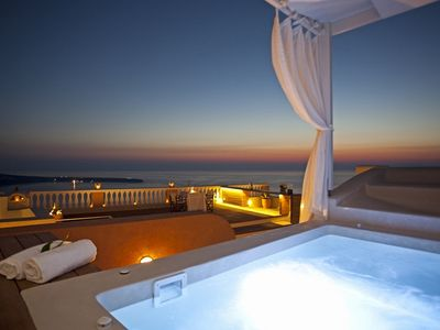 Photo for BlueVillas | Villa Oia | Outdoor heated jacuzzi with sea view