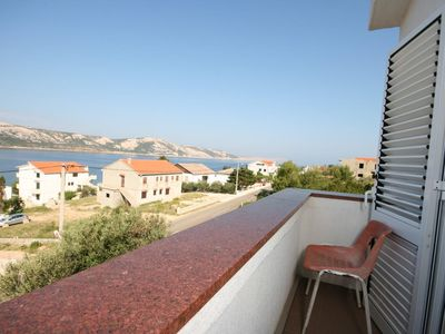 Photo for One bedroom apartment with balcony and sea view Stara Novalja, Pag (A-6319-f)
