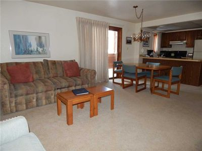 Photo for 1 bedroom vacation rental with gas fireplace, covered private deck and extra bathroom.