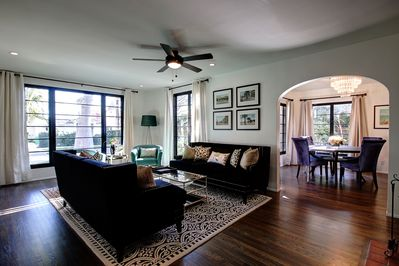 Living room is very spacious, looking into dining room