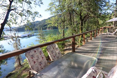 Retreat with Large New Deck Waterfront.  Two Patio tables, BBQ, AWESOME views.
