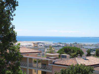 Photo for Nice 2P, 53m2, 4 pers, air-conditioned room, sea view terrace, free swimming pool