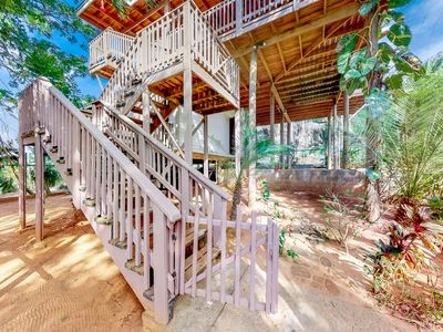 Photo for Secluded apartment in nature with deck, grill and outdoor dining
