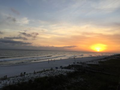 Amazing gulf view from our balcony- especially the sunsets. 2 min. to the beach!
