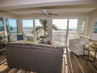 Photo for This beautiful, oceanfront, remodeled condo at the Privateer satisfies your every need.  Sweeping views of the Gulf of Mexico prevail inside allowing you to watch the birds and boats sail by.