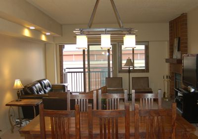 The dining area is spacious and provides seating for 6-8.