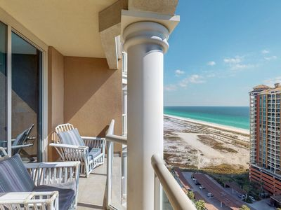 Photo for NEW LISTING! Gorgeous condo w/Gulf views, shared hot tub, pools, & gym