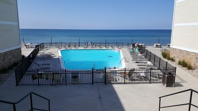 Heated private pool overlooking Lake Michigan