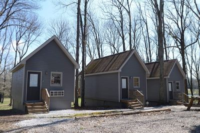 Front view of the cozy cabins we have 3 available