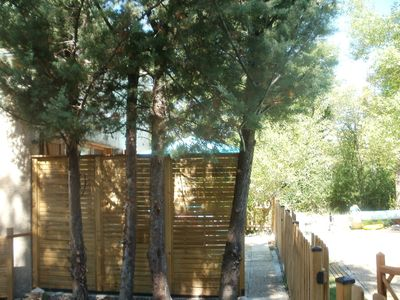 Wooden garden screen for privacy and wooden fence for security