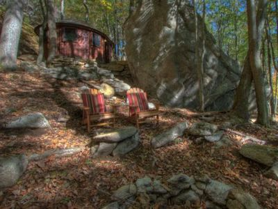 Photo for Glamping in Eagles Nest! Cedar Yurt with king bed, TV, WiFi, Summer Concerts!