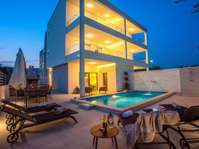Photo for VILLA FILIP heated pool, sauna, 5 ensuite bedrooms, 30m from sea, Special Offer!