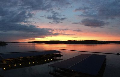 Awesome lake sunset viewing from your balcony.  Boat slip also viewable.