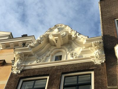 Beautiful Canal house facade  carved in wood