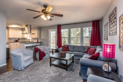 Large main living room with plenty of seating