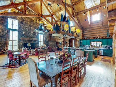 Photo for Secluded lodge on 40 acres - mtn views, private hot tub, pool table