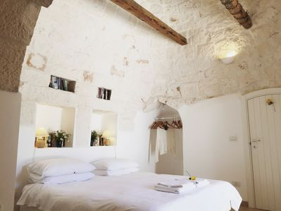 The master bedroom is underneath the cone of the trullo