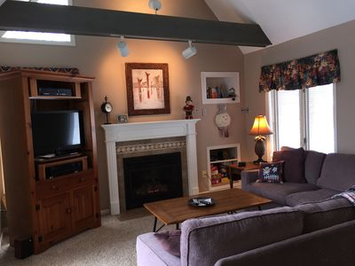 Main living area; gas fireplace. Flat screen TV with DVD and VCR.