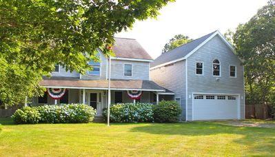 Front of home, large yard, Farmers porch, located on a quiet cul-de-sac