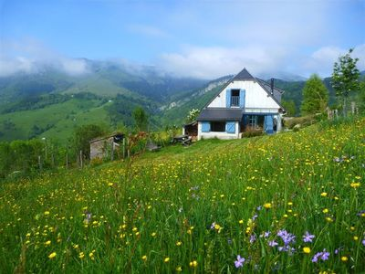 Photo for Wooden cottage in the heart of the Pyrenees in an exceptional site.