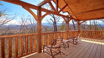 Photo for 2 BR Luxury Cabin in Gatlinburg Falls, Views of Mt. Leconte, HDTV, Arcade, Hot