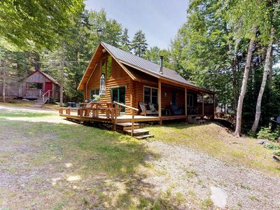 Photo for Dog-friendly lakefront log cabin w/ peaceful atmosphere, dock & boat launch!