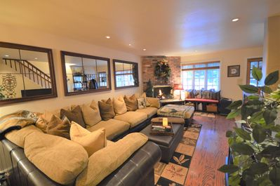 """Gas fireplace turns on easily with remote control.  50"""" Smart TV"""