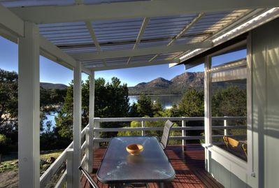 Sundeck with ocean and mountain views