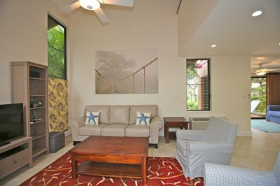 Living Room - High Ceiling, Ceiling Fan, 42' HDTV, two 12ft louvered windows
