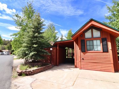 Photo for Couples favorite chalet with 1 bedroom, 1 bathroom, cute living are, fully furnished kitchen, and large back patio that is close to the Blue River and walking/hiking trails