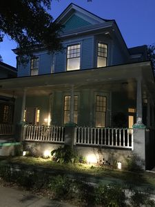 Night front view with new landscape lighting