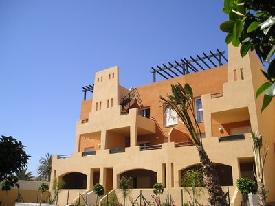 Photo for Penthouse with roof terrace, private pool, Air con, Free WI-FI, 400m from beach