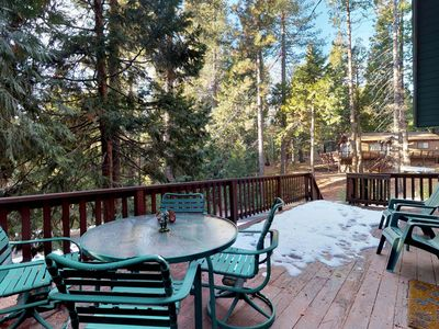 Photo for NEW LISTING! Dog-friendly woodland cabin w/large deck, grill, gas fireplace