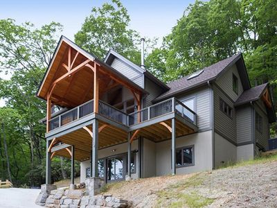 Photo for Rustic Timber; luxury timber frame in the heart of Montreat; streams, hiking, close to Asheville!