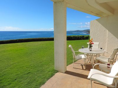 Photo for Poipu Shores 104A Oceanfront Deluxe 2BR/2BA  Air conditioned.  Sublime Sunsets