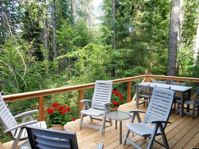 Photo for Creekside Cabin ~ Private, Peaceful and Convenient to Glacier ~ Wonderful Deck