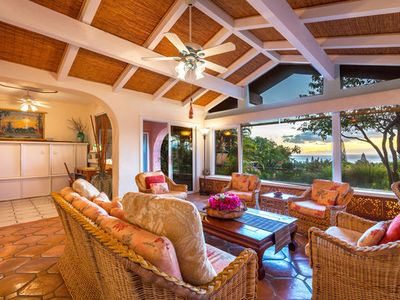 Photo for Seaside Tropics Estate - spectacular ocean sunset views, private pool, spa, garden