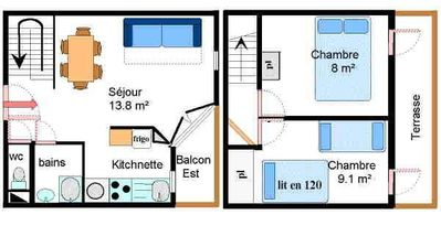 Photo for Surface area : about 43 m². Orientation : East. Living room with bed-settee. Bedroom with single bed