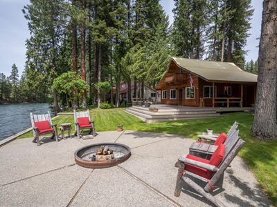 Photo for Riverfront Chalet, 2 Bedroom + Loft, Sleeps 6-8 guests, with a hot tub.