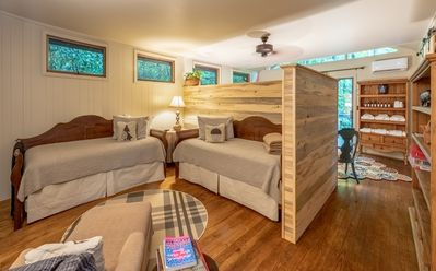 The sleeping lodge is open concept sleeping with privacy partition.