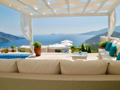 Photo for Airy, modern & spacious apartment with shared pool & stunning views of Kalkan