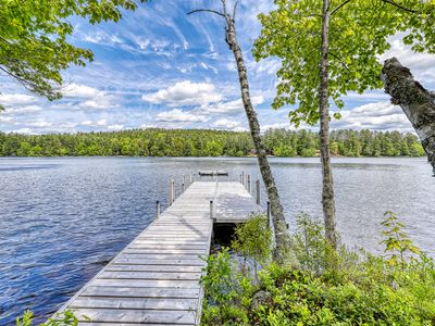 Photo for Unique lakefront house with sandy beach & dock, sweeping views