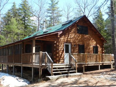Photo for Secluded Log Home in Natural Private Forest with Waterfront and Beach, sleeps 8