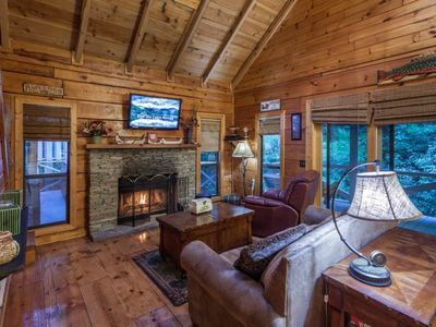 Photo for Hemlock Creek is a secluded couple`s cabin overlooking celebrated Fightingtown Creek.  Pet-friendly.