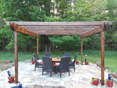 Stone Patio and Pergola with seating for 6. Enjoy!